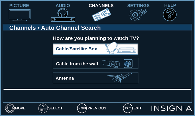 Automatically scanning for channels